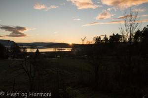 Solnedgang i desember.